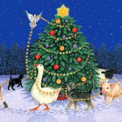 Пазл онлайн: Украшаем елку