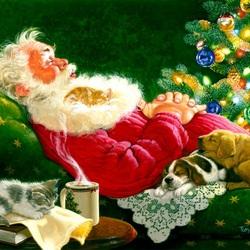 Пазл онлайн: Спящий Санта