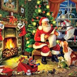 Пазл онлайн: Санта готовит подарки