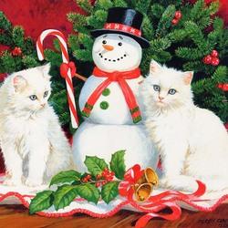 Пазл онлайн: Рождественский снеговик