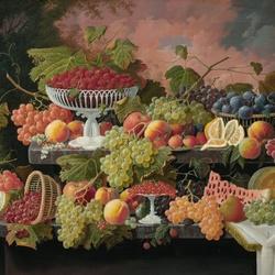 Пазл онлайн: Натюрморт с фруктами на фоне закатного пейзажа