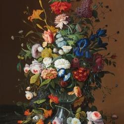 Пазл онлайн: Цветочный натюрморт с птичьим гнездом