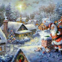 Пазл онлайн: Санта  прилетел