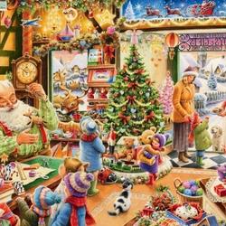 Пазл онлайн: Рождественская лавка игрушек