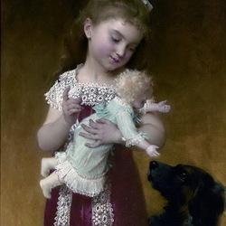 Пазл онлайн: Девочка с куклой