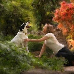 Пазл онлайн: Девушка с собакой