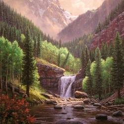 Пазл онлайн: Водопад среди гор