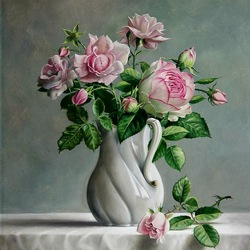 Пазл онлайн: Розовый букет в керамическом кувшине