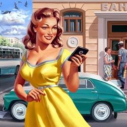 Пазл онлайн: Девушка с телефоном