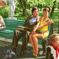 Пазл онлайн: В парке на скамейке