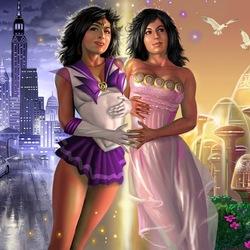 Пазл онлайн: Сейлор Солярис и принцесса Санна