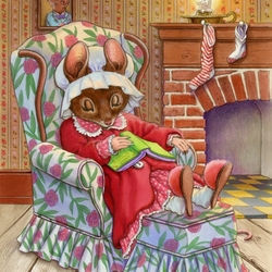 Пазл онлайн: Мышка за книжкой