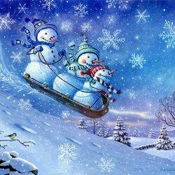 Пазл онлайн: Едут снеговички