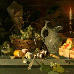 Пазл онлайн: Плоды и свеча
