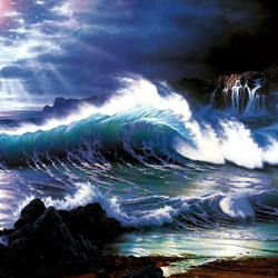 Пазл онлайн: Лунные волны