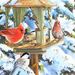 Пазл онлайн: Кормушка для птиц