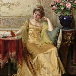 Пазл онлайн: Дама с зеркалом