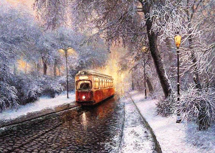 Вышивка ночной трамвай 29