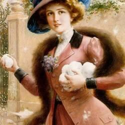 Пазл онлайн: Девушка играет в снежки
