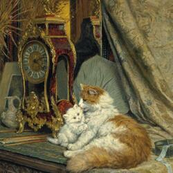 Пазл онлайн: Кошка с котенком и настольные часы