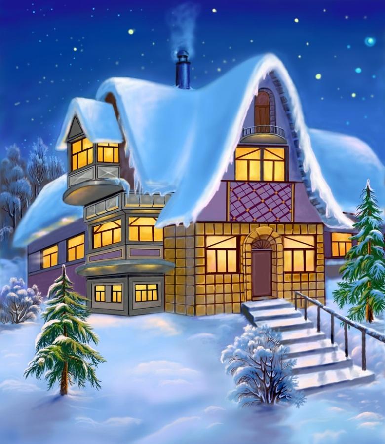 Моей, домики в снегу картинки нарисованные