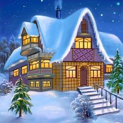 Пазл онлайн: Домик Деда Мороза