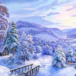 Пазл онлайн: Зимняя деревенька