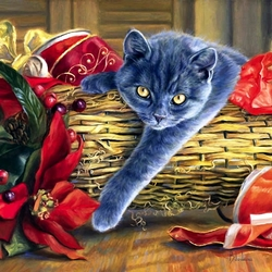Пазл онлайн: Новогодний пушистый подарок