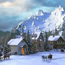 Пазл онлайн: Рождество в Альпах