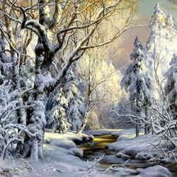 Пазл онлайн: Зимнее утро в лесу