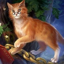 Пазл онлайн: Кот Ученый
