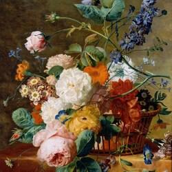 Пазл онлайн: Корзина с цветами и бабочки
