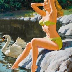 Пазл онлайн: Лебедушки