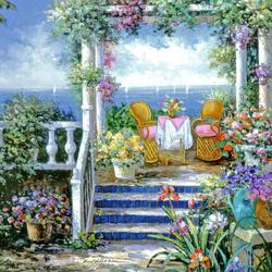 Пазл онлайн: Цветочная беседка