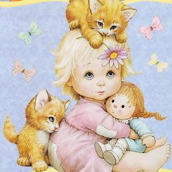 Пазл онлайн: Девочка с котятками