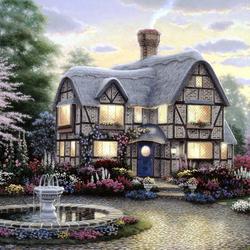 Пазл онлайн:  Дом с фонтаном