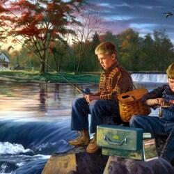 Пазл онлайн: Серьезные рыбаки