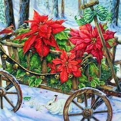 Пазл онлайн: Рождественские цветы