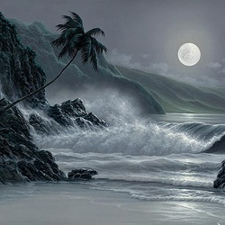 Пазл онлайн: Восход луны
