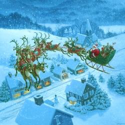 Пазл онлайн: Санта над крышами домов