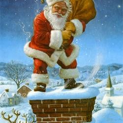 Пазл онлайн: Санта на трубе