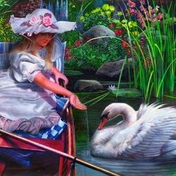 Пазл онлайн: Девушка и лебедь