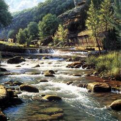 Пазл онлайн: На пастбище у реки