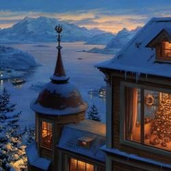 Пазл онлайн: В доме перед Рождеством