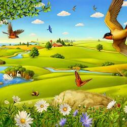 Пазл онлайн: На крыльях весны
