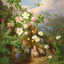 Пазл онлайн: Цветы и птичка