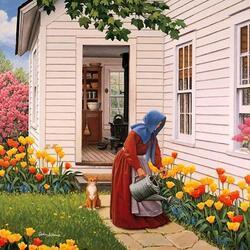 Пазл онлайн: Заботы по саду