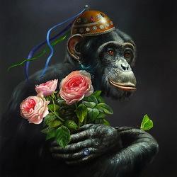 Пазл онлайн: Шимпанзе с цветами
