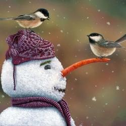 Пазл онлайн: В гостях у снеговика
