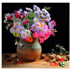 Пазл онлайн: Цветы и орехи